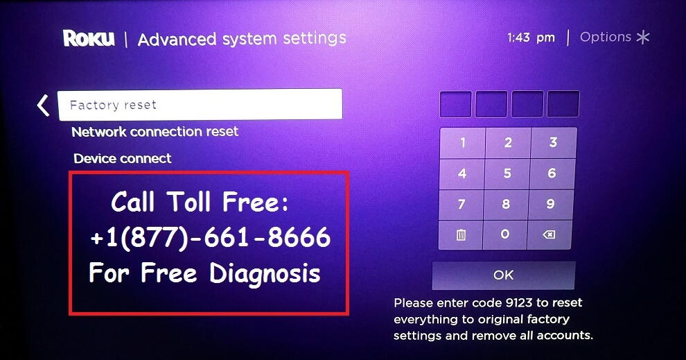 Reset Roku to fix Channel Streaming issue